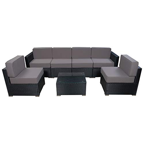 Mcombo Outdoor Wicker Sofa Furniture Luxury Large Size Patio with 6 Inch Cushions (Grey) 6082