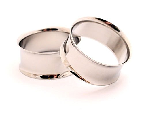Mystic Metals Body Jewelry Steel Double Flare Tunnels - 7/16 Inch - 11mm - Sold As a Pair ()