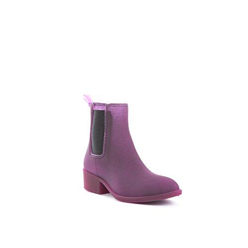 Scarpe Di Soho Da Donna Low Cut Elastico Alla Caviglia In Gomma Impermeabile Stivali Da Pioggia Vino