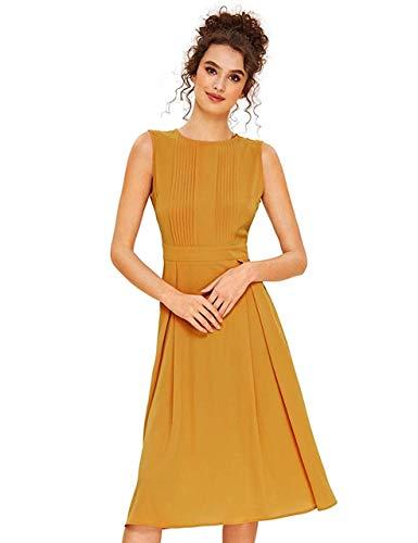Ginger Women - Milumia Women's Elegant Frilled Long Sleeve Pleated Fit & Flare Dress Ginger L
