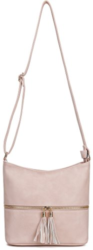 Zipper DELUXITY with Hobo Accent Medium Bag Crossbody Blush Tassel BwqYavwr