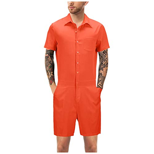 TIFENNY Rompers for Men Summer Shorts 3D Printed Short-Sleeved Plus Size Zipper Jumpsuit Tops Blouse Red