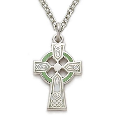 (TrueFaithJewelry Sterling Silver Engraved Celtic Cross Pendant with Green Enamel, 5/8 Inch )