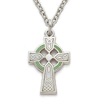 TrueFaithJewelry Sterling Silver Engraved Celtic Cross Pendant with Green Enamel, 5/8 - Cross Enamel Green