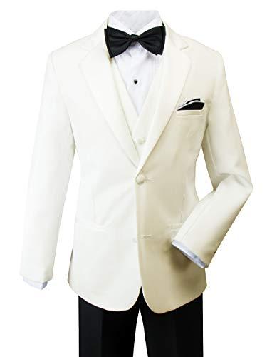 (Spring Notion Big Boys' Modern Fit Tuxedo, No Tail 14 Ivory Jacket/Black Pants)