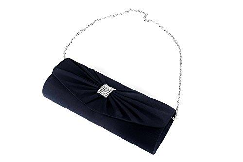 Borsetta donna JEAN MARTEN blu pochette in raso con strass e fiocco N503