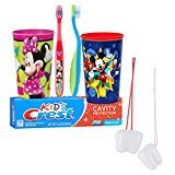 Mickey Mouse & Minnie Mouse Inspired 5pc. Bright Smile Oral Hygiene Set! Soft Manual Toothbrush, Crest Kids Sparkle Toothpaste & Mouthwash Rise Cup! Plus Bonus