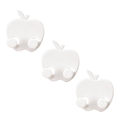 OUNONA 3pcs Multifunctional Adhesive Plug Holder Cord Organizer Apple-Shaped Socket Storage Rack Key Hanger (White) (Plug Holder)