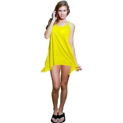 Ingear sólido alargado lados tanque vestido Amarillo