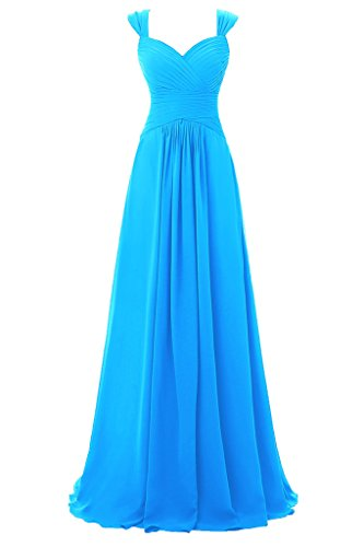 Night Moves Prom Gowns (Topdress Women's Spaghetti Bridesmaid Sweetheart Prom Long Evening Gowns Blue US 4)
