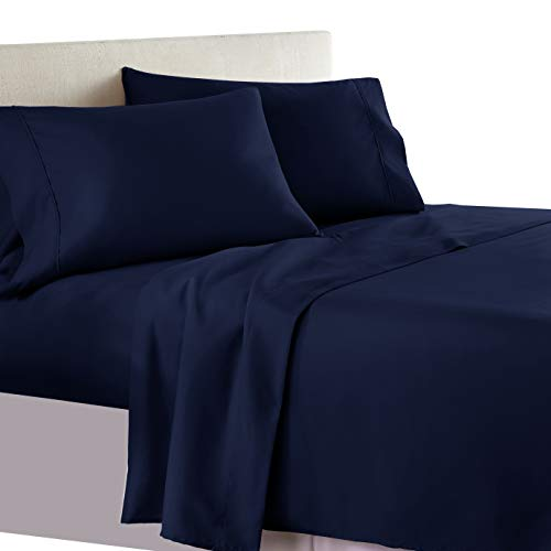 Royal Tradition Bed Sheet Set, 300 Thread Count - Queen Solid Navy - 100% Cotton, Deep Pocket, 4PC Sheets
