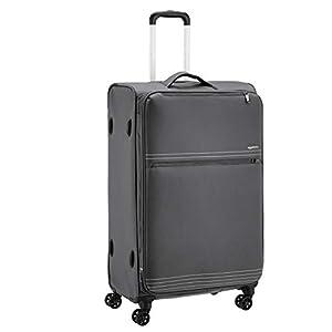 AmazonBasics Lightweight Softside Rolling Spinner Suitcase Luggage – 32 Inch, Grey
