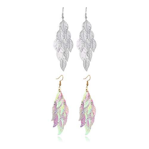 (Colorful Leaf Cluster Charm Earring Fashion Boho Hollow Filigree Leaves Dangle Earrings for Women Girls-Silver)