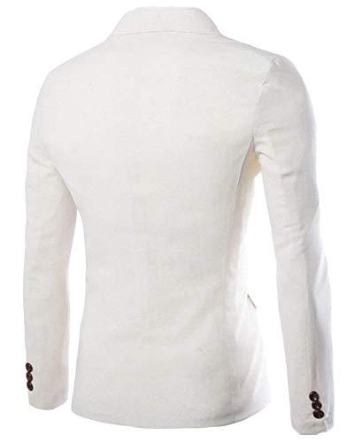 Fit Per Giacca Bottone Elegante Slim 1 Libero Uomo Giacche Il Da Blazer Bianca Tempo Casual qtrrIw7