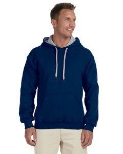 Adult Heavy Blend Contrast Hooded Sweatshirt (Navy/ Sport Grey) (Small)