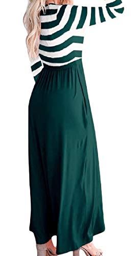 Bandes Coolred-femmes Ceinture Épissures Empoché Salon À Manches Longues Maxi Robe Longue Vert Noirâtre