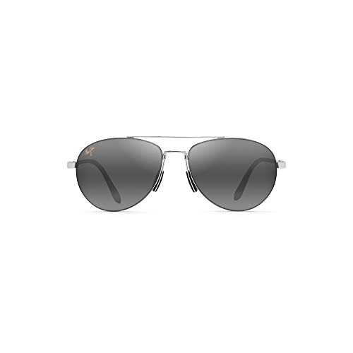 Maui Jim Pilot 210-17 | Sunglasses, Silver Aviator, with Patented PolarizedPlus2 Lens ()