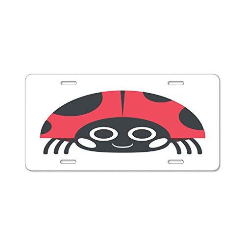 BGOJM Personalized Novelty Front License Plate Covers Custom Vanity Decorative Aluminum Car Tag Ladybug -