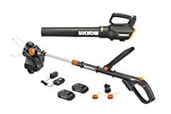 """WORX unites the ultimate in grass trimming & Turbine blower technology. Combo kit includes a 12"""" 20V li-ion cordless grass trimmer/Edger w/ (2) 20V 2.0Ah li-ion batteries for longer run time. The cordless blower is compact & light wei..."""
