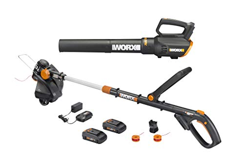 Worx WG930 20V 10″ Cordless String Trimmer & TURBINE Blower Combo Kit, 2 Batteries and 1-Hr Charger