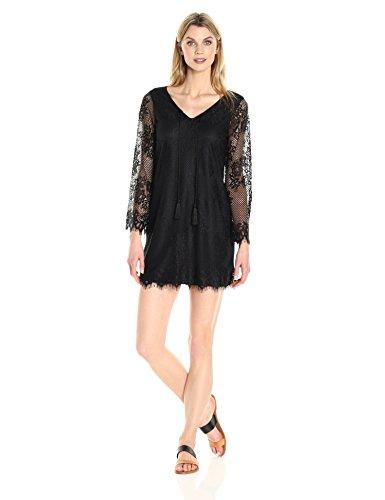 Tiana B Women's Long Sleeve Eyelash Lace Shift Dress with Tassels, Black, 16