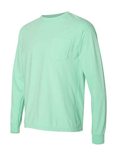 6.1 Ounce Pocket T-shirt - Comfort Colors Mens 6.1 oz. Long-Sleeve Pocket T-Shirt(C4410)-Island Reef-XL
