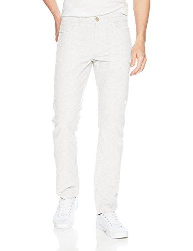 Perry Ellis Men's Slim Fit Solid Linen Cotton Pant, Bright White, 36W X 34L