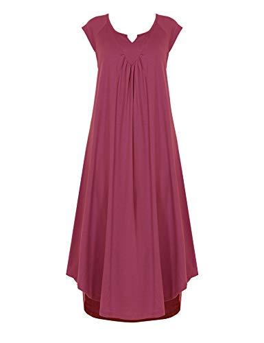 (Ekouaer Cotton v Neck Pajamas Cap Sleeve Sleep Dress Long Nightgowns for Women Cherry)