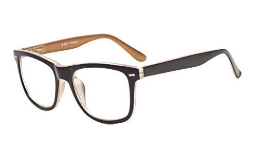 Eyekepper Readers Square Large Lenses Spring-Hinges Reading Glasses Men Women Black-Brown +1.5