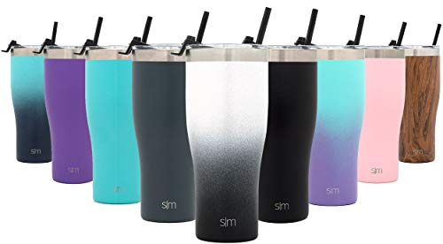 (Simple Modern 32oz Slim Cruiser Tumbler with Straw & Closing Lid Travel Mug - Gift Double Wall Vacuum Insulated - 18/8 Stainless Steel Water Bottle Ombre: Tuxedo)