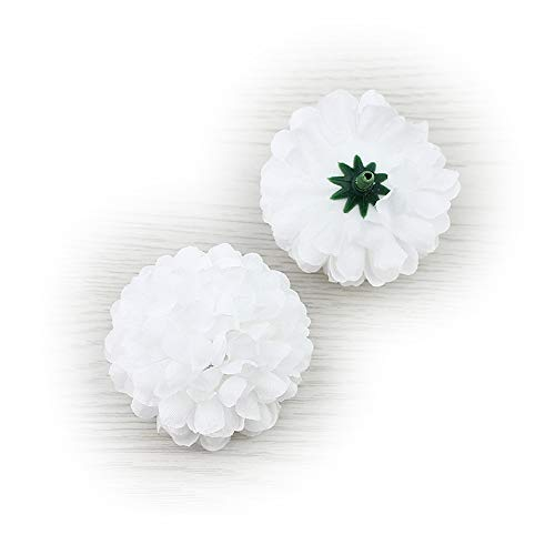 Flower Head in Bulk Wholesale for Crafts Silk Carnation Artificial Pompom Mini Hydrangea Party Home Wedding Decoration DIY Fake Wreaths Festival Decor 30pcs 5cm (White)