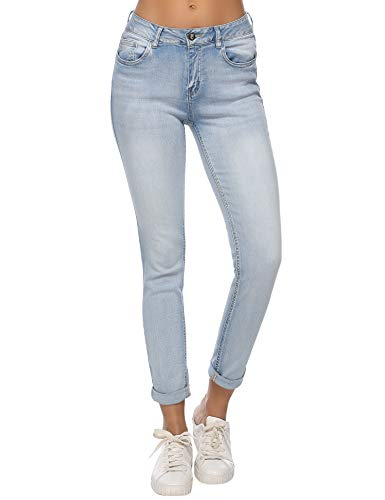 - Resfeber Women's Boyfriend Jeans Distressed Slim Fit Ripped Jeans Comfy Stretch Skinny Jeans