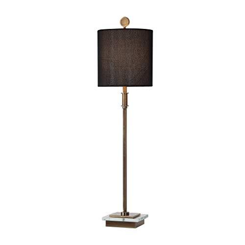 Lamp Black Column Table (My Swanky Home Elegant Brass Black Classic Buffet Table Lamp   Slim Tall Gold Crystal Geometric)