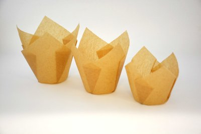 Standard Cupcake Paper Tulip Cup Liners Natural Beige 2''x 2 3/4 '' - 2000pcs