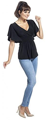 Zeta Ville - Top Imperio Sedoso Escote de Pico Mangas Murciélago - mujer - 162z Negro