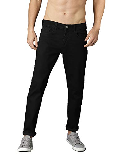 Black Slim Fit Stretch Jeans for Mens
