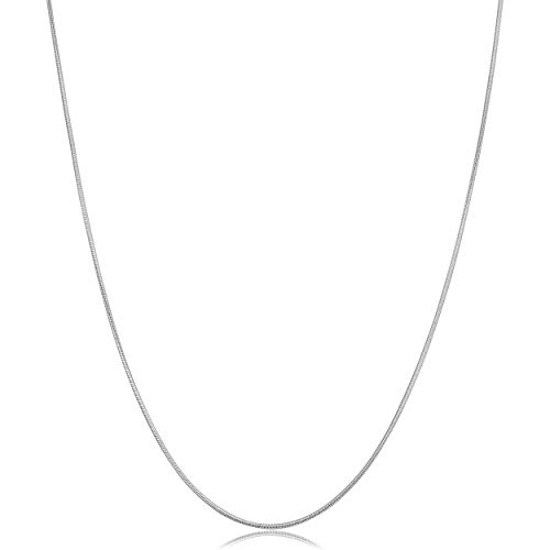 Kooljewelry 14k White Gold Round Snake Chain Necklace (0.8 mm, 18 inch)