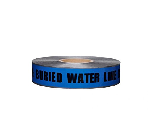 DT2 BW National Marker Detectable Underground Tape, Caution Water Line Below, 2 Inch x1000
