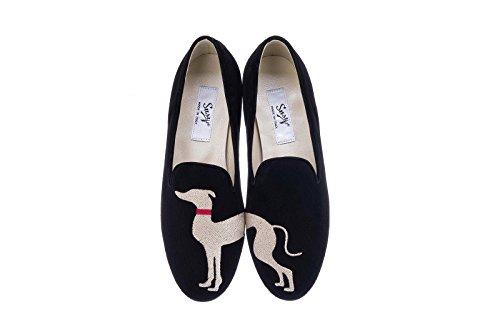 Slipper Greyhound Donna Scarpe Susy Loafer Mocassino CALZATURIFICIO in Italy Levriero Scarpa Nero Black Made HApccqI