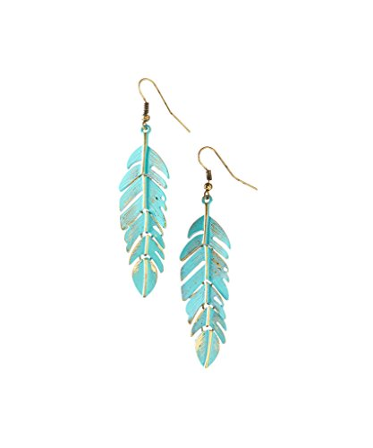 uoise Patina & Burnished Goldtone Feather Drop Earrings ()