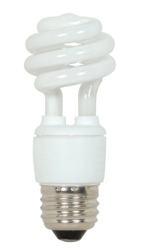 Satco S7211 9-Watt Medium Base T2 Mini Spiral, 2700K, 120V, Equivalent to 40-Watt Incandescent Lamp for Enclosed Fixtures with Energy Star Rated