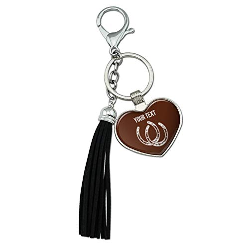 Graphics and More Personalized Custom 1 Line Lucky Horseshoes Cowboy Cowgirl Chrome Plated Metal Heart Leather Tassel Keychain from Graphics and More