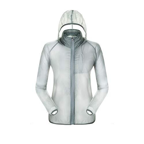 Dooy Men's Cycling Waterproof Windbreaker Jacket/Packable Rain Coat,Lightweight Quick Dry Rain Jacket for Outdoor Sports Gray