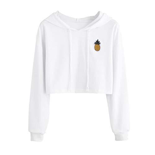 Manche Sweat Blanc Longue Mode 2 Vetement Hoodie Pull Femme Shirt SANFASHION Ananas Chic Florale Rayures Lettres Ananas Imprission 84xnqR