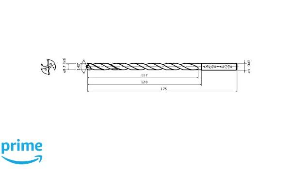 Mitsubishi Materials MWS0870X10DB MWS Series Solid Carbide Drill 8.7 mm Cutting Dia Internal Coolant 9 mm Shank Dia. 1.6 mm Point Length 10 mm Hole Depth