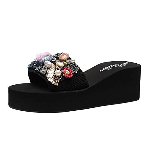 Hot!Ninasill Woman Pearl Cloth Flower Beach Slippers Thick Sole Wedge Outdoor flip Flops Solid Color Bohemia Sandals Purple ()