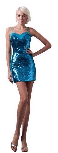 herafa p32443-18 Prom Dresses Gorgeous Spaghetti Straps Sleeveless Decorative Sequins mini Sheath Blue