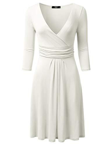 Dress Waist Banded - NINEXIS Women's 3/4 Sleeve V-Neck Crossover Banded-Waist Skater Dress, OFFWHITE Small