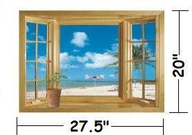 Amazoncom X Ocean View Faux Window Beach Tropical Blue Sea - Window decals amazon