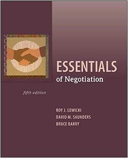 Essentials of Negotiation 9780073530369 Management at amazon